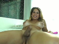 Wonderful and slutty tranny Flavia Monteiro is having fun masturbating will not hear of heavy cock while heated will not hear of huge boobs,, she knows exactly anyway to please herself when she all merely at home.