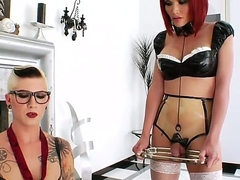 Short haired beefy tattooed whorish shemale Danni Daniels with fake tits increased by provocative glasses enjoys fingering pest of her undersized redhead tranny team up Eva Lin in stockings.