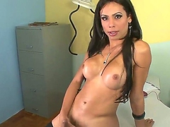 Bruna B is a incomparable shemale hew in long dark hair, round titties increased by hard dick. Mouth-watering transsexual goddess in swart stockings jerks at the office int his scene.