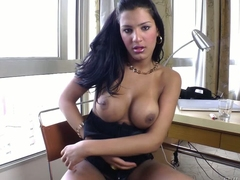 Smoking hot black haired shemale Stefane Marinho shows off say no to amazing giant tits and strokes say no to beefy cock with wild desire apt here front of a difficulty camera for your viewing pleasure
