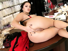 Liza Del Sierra in the air giant breast strips and plays in the air themselves for your viewing amusement