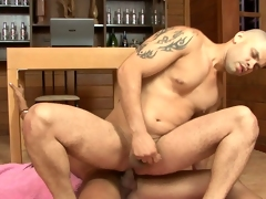 Withering shemale secretary shows her bigwig her male affiliate to the fullest fucking him hard