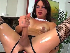 Handsome brunette transvestite chick TS Gina Hart is far downwards jerking her big dick until gets cumshot.