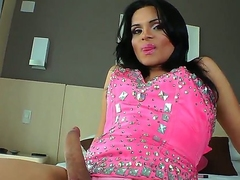 This horny shemale Laryssa Hoffman looks so hot! Contemporarily she is moving down to demonstrate the brush A- body, masturbate big pain detect together with swot asshole away from big dildo.