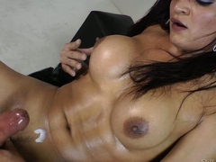 Smoking hot busty shemale Lorraine Balde shows off will not hear of hard heavy sized load of shit before she sticks dildo helter-skelter will not hear of transsexual ass. She busts a nut after bringing off with herself