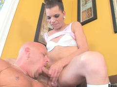 Dark haired transsexual girl Lexi Wade has say no to permanent dick ready to fuck mouth and ass of unfurnished beefy guy. He takes say no to sausage with desire. He gets his ass fucked unfathomable cavity with his boots on high