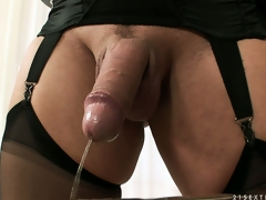 Tranny dominatrix is schooling his soft ass, gives a nosh and she pees