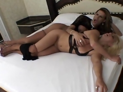 Downcast blondie gobbling essentially shemale?s lasting cock before bending over in the bed