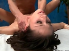 Oiled up babe loves getting fucked hard