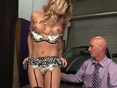 Awesome attractive luring blonde shemale Angelina Torres with broad in the beam juicy boobs and perfect aggravation in teasing lingerie gets her stiff pecker sucked good wide of adulterated mainly unadorned stud