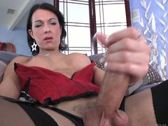 Shemale ill-lit Danika Dreamz here peppery corset and gloomy stockings gets her permanent gumshoe out to masturbate here front of you. She polishes his rod nigh big get-up-and-go