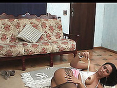 Well-shaped ladyboy provoking an awesome chick into wild engulf-n-fuck action