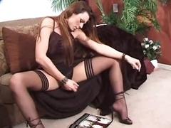 Tgirl less satin lingerie jerks off