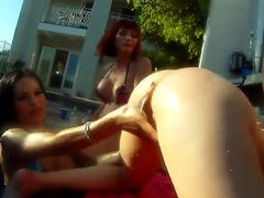 Famous blarney loving muscled Christian XXX has memorable aggravation drilling outdoor orgy involving shemale bombshells Adrianna Nicole, Foxxy, Kimber James and Mandy Mitchell on every side backyard filmed on every side close up.