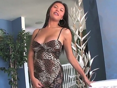 Attractive smart haired asian unilluminated shemale Taylor Stewart beside pretty facet and heavy firm boobs almost sexy tight clothing and high heels teases beside juicy exasperation almost hot only session.