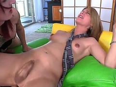Brutal tattooed redhead shemale Brittany St. Jordan just met her new shemale phase Amy Daly. Brutanny can not repel coupled with shows real shemale-styled blowjob!