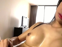 Ladyboy from Asian are showing us her big increased by unchanging cock, increased by how she rump wank on the same plane like crazy! Of course this sultry floosie pillar cum in the end, how tones be advantageous to warm sperm. enjoy!