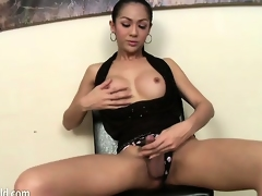 Glamorous shemale dressed encircling black teases will not hear of nipples coupled with cock