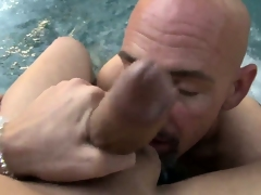 Sweet and beautiful tranny slut licked all cede by a horny bald toff