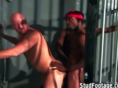 Interracial gay sex in a lock-up cell