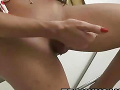 Sexy latina shemale hottie tugging primarily her hard cock