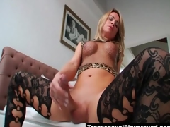 Superb big cock tranny masturbates