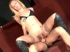 Gorgeous transgender slut in stockings fucked